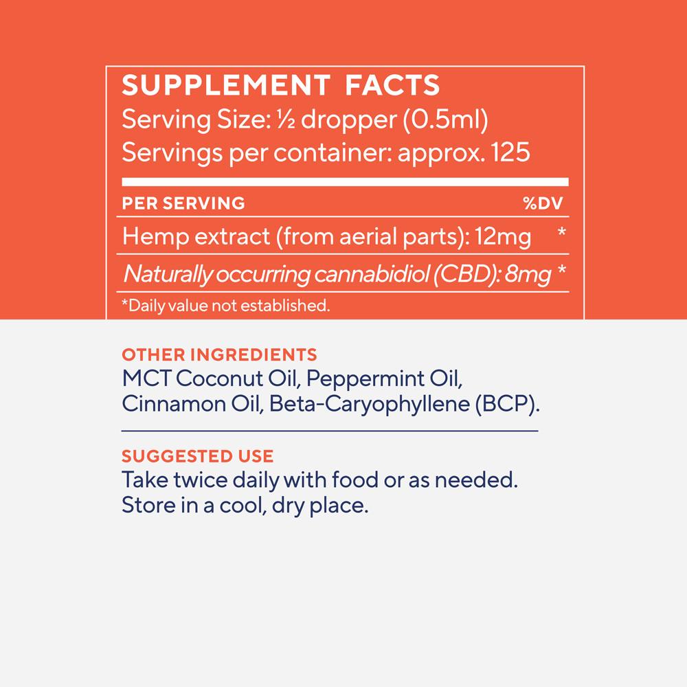 Elixinol, Daily Balance CBD Tincture, Full Spectrum, Cinnamint, 2oz, 1000mg CBD 4