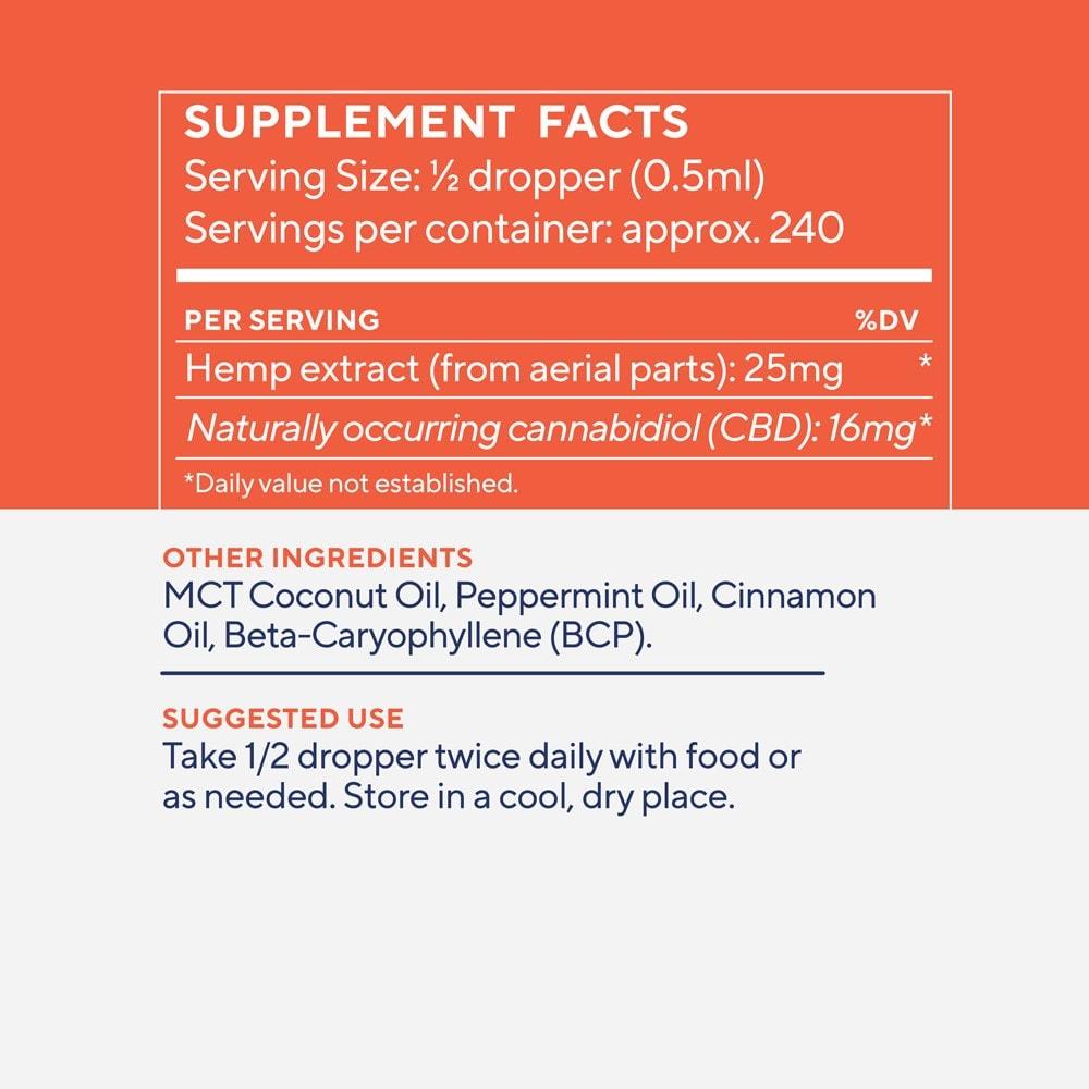 Elixinol, Daily Balance CBD Tincture, Full Spectrum, Cinnamint, 4oz, 4000mg CBD 3