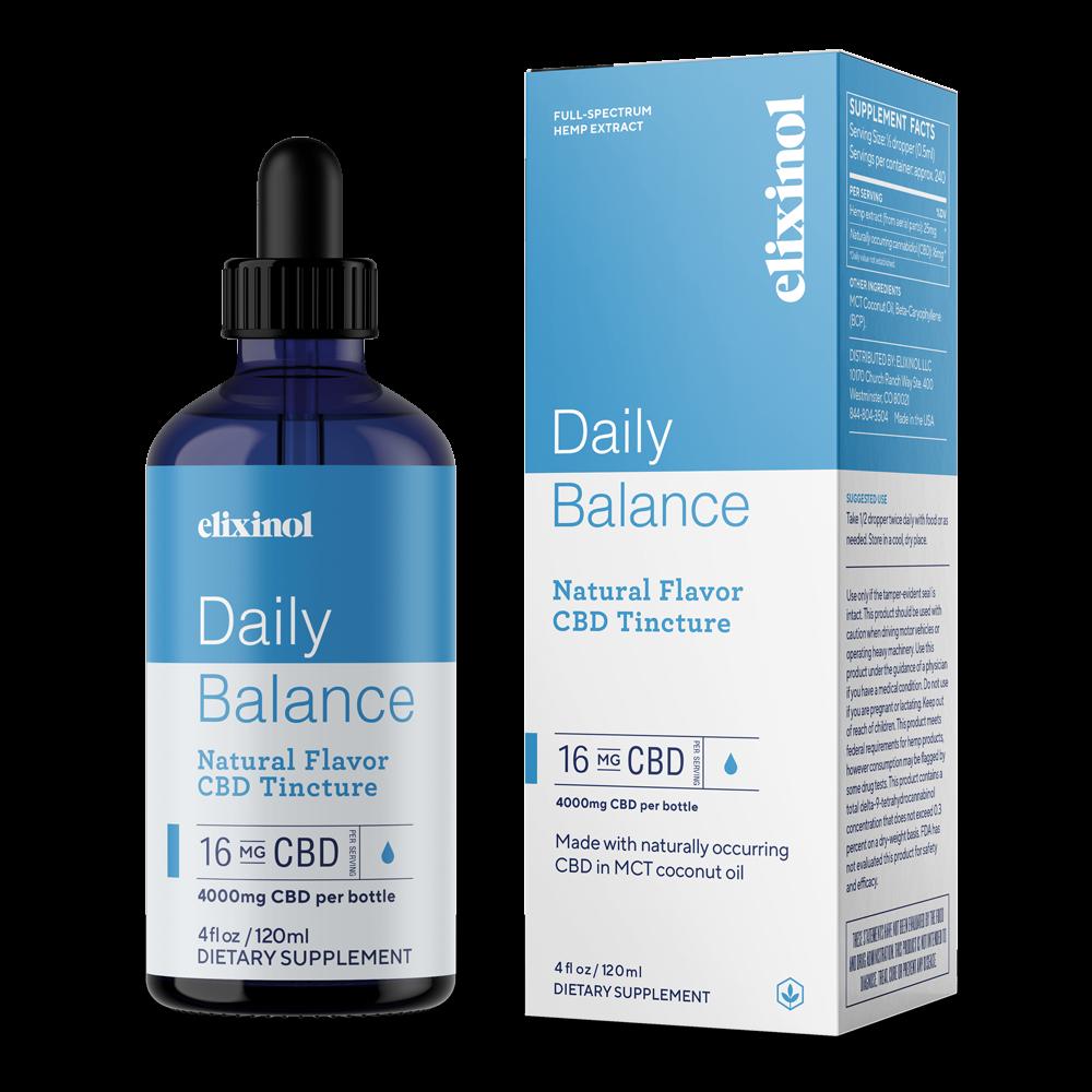 Elixinol, Daily Balance CBD Tincture, Full Spectrum, Natural Flavor, 4oz, 4000mg CBD 1