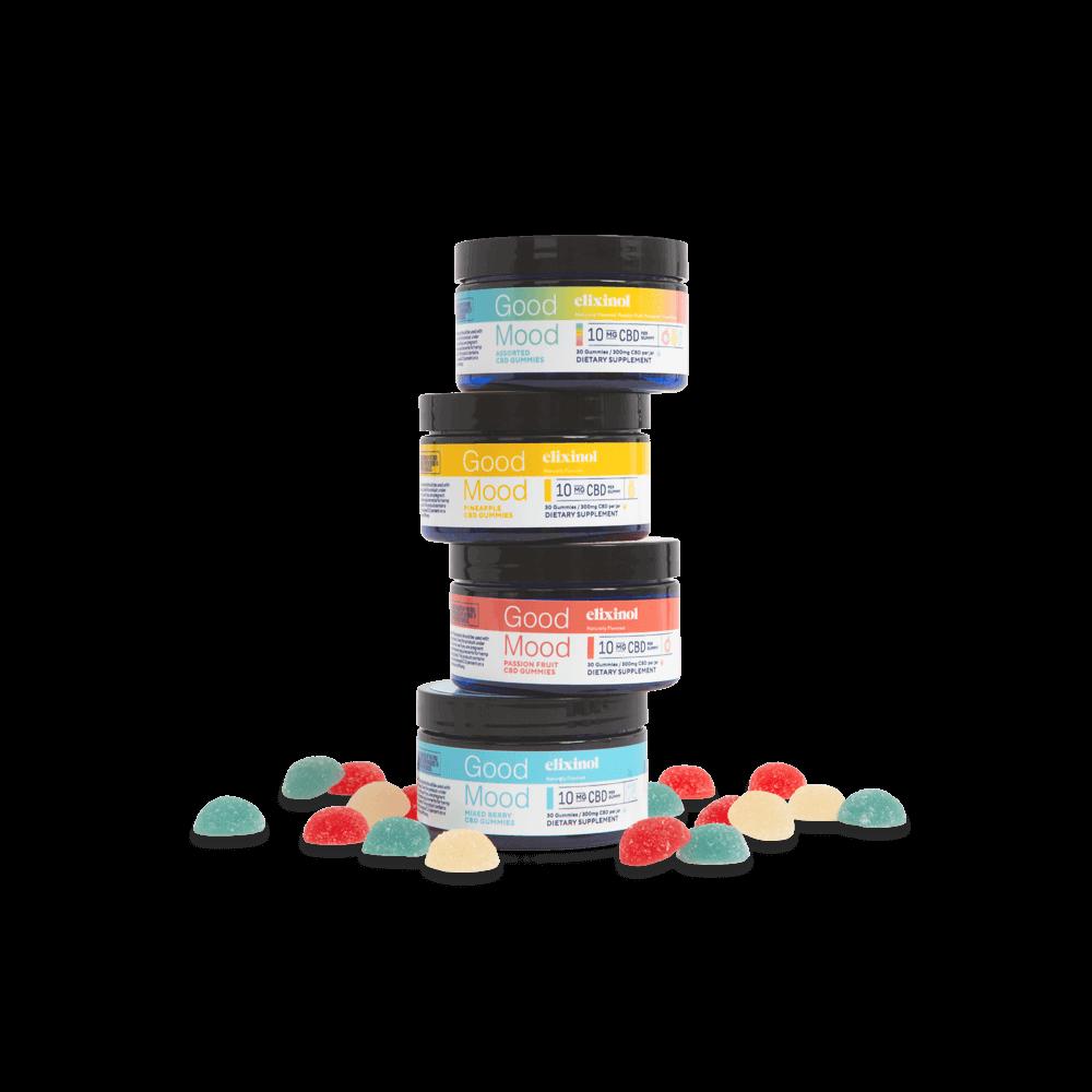 Elixinol, Good Mood CBD Gummies, Full Spectrum, Assorted, 30ct, 300mg CBD 5