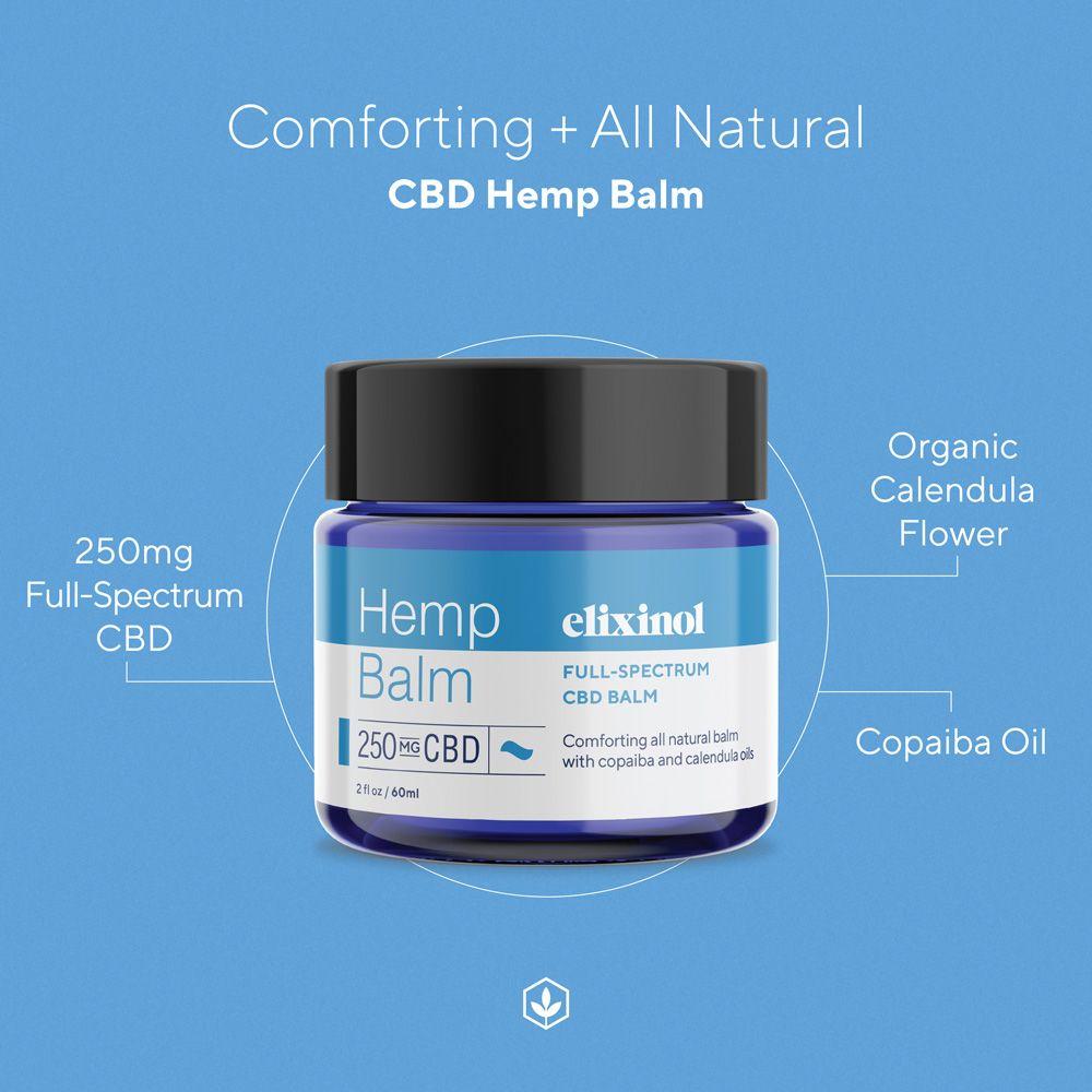 Elixinol, Hemp CBD Balm, Full Spectrum, 2oz, 250mg CBD 3