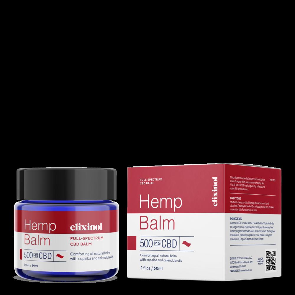 Elixinol, Hemp CBD Balm, Full Spectrum, 2oz, 500mg CBD 1