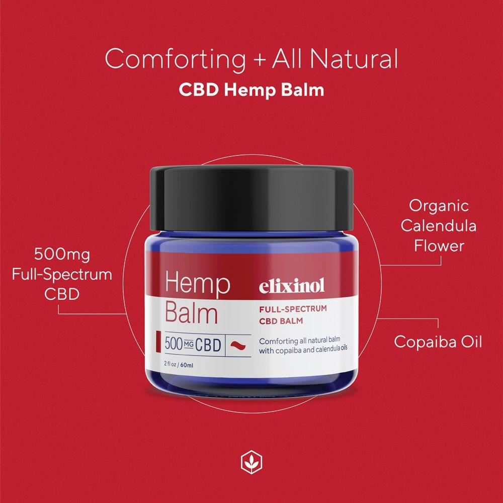 Elixinol, Hemp CBD Balm, Full Spectrum, 2oz, 500mg CBD 3