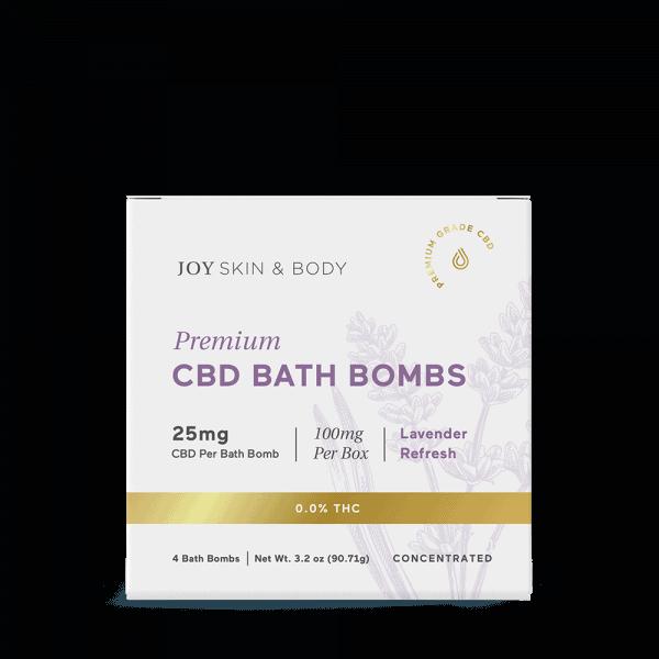 Joy Organics, CBD Bath Bombs, Lavender, Broad Spectrum THC-Free, 4ct, 100mg CBD