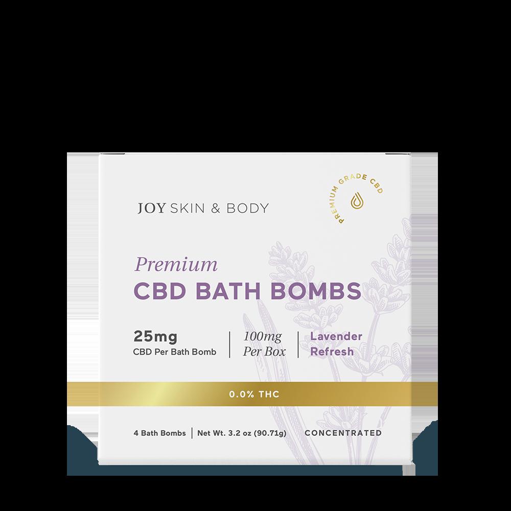 Joy Organics, CBD Bath Bombs, Lavender, Broad Spectrum THC-Free, 4ct, 100mg CBD 1
