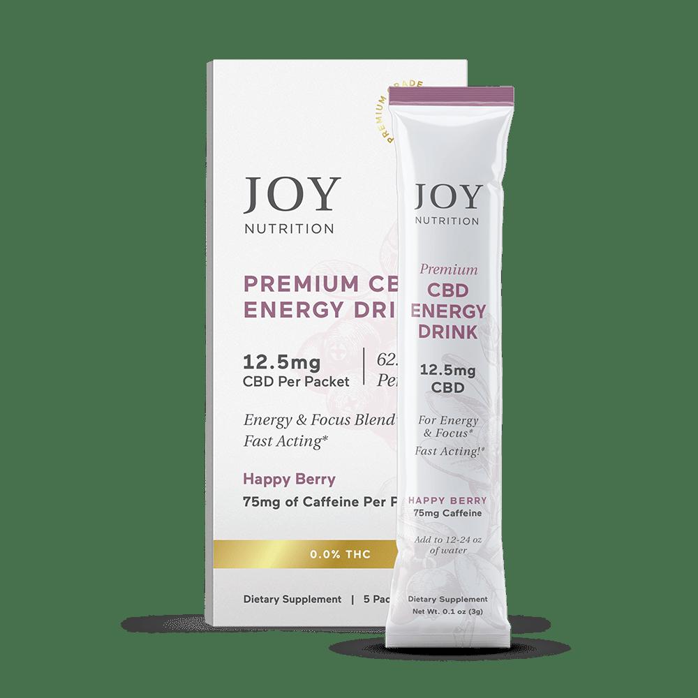 Joy Organics, CBD Energy Drink Mix with Caffeine, Berry, Broad Spectrum THC-Free, 5ct, 250mg CBD 1