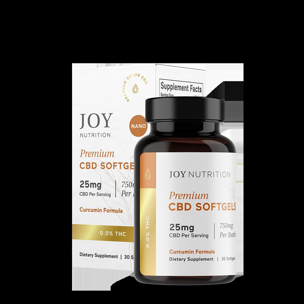 Joy Organics, CBD Softgels with Curcumin, Broad Spectrum THC-Free, 30ct, 750mg CBD 1