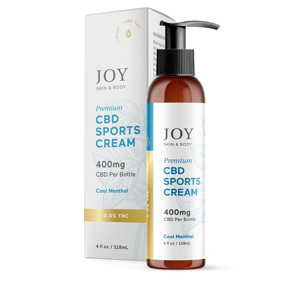 Joy Organics, CBD Sports Cream, Cool Menthol, Broad Spectrum THC-Free, 4oz, 400mg CBD
