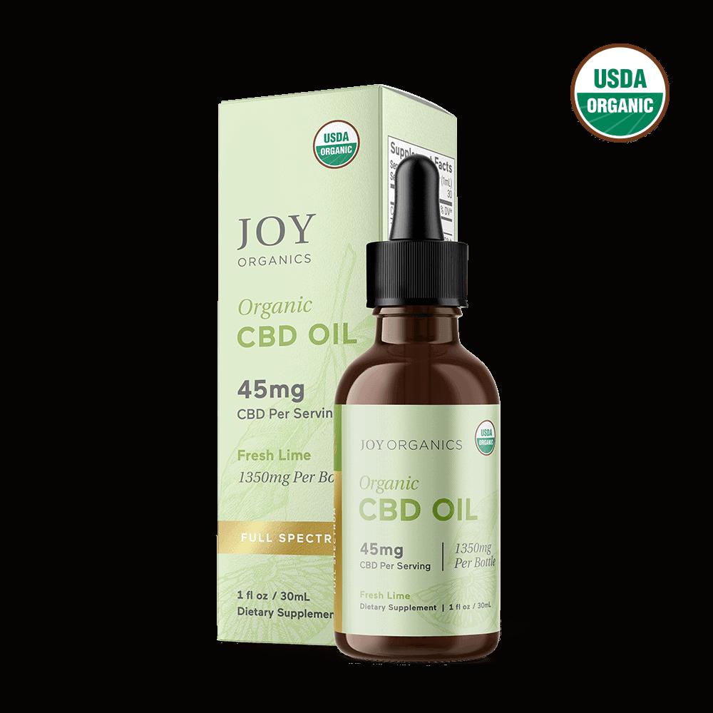 Joy Organics, Fresh Lime Organic CBD Tincture, Full Spectrum, 1oz, 1350mg CBD 1