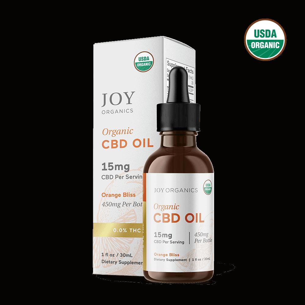 Joy Organics, Orange Bliss Organic CBD Tincture, Broad Spectrum THC-Free, 1oz, 450mg CBD 1