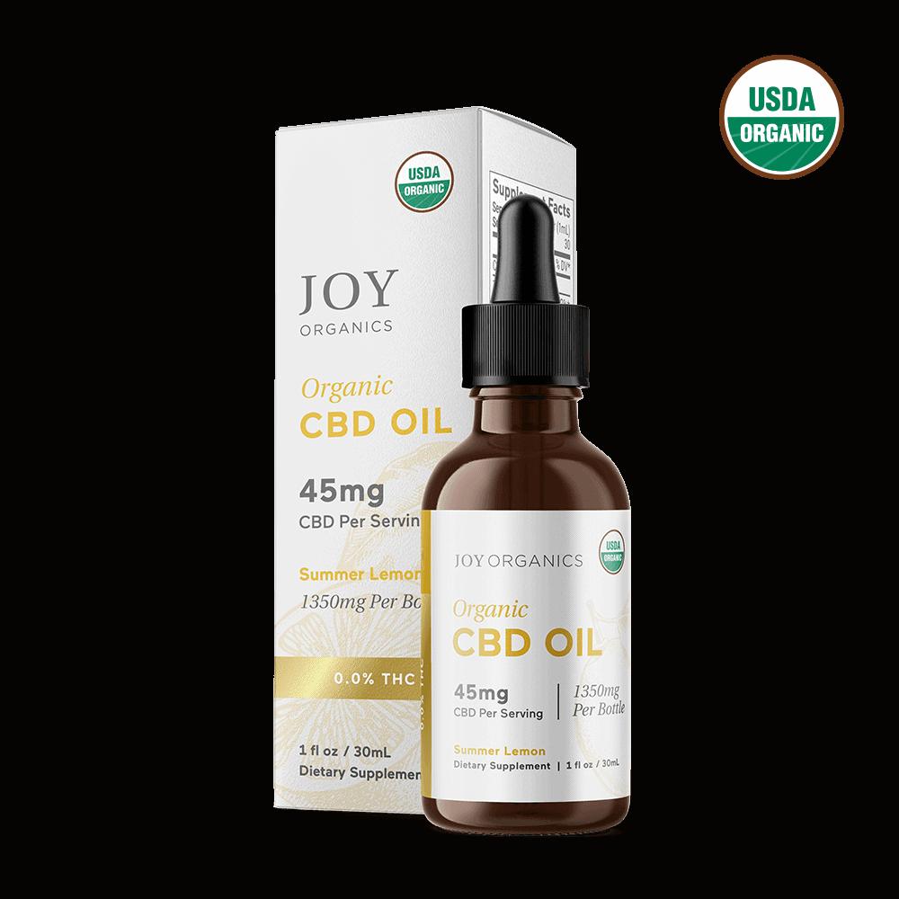 Joy Organics, Summer Lemon Organic CBD Tincture, Broad Spectrum THC-Free, 1oz, 1350mg CBD 1
