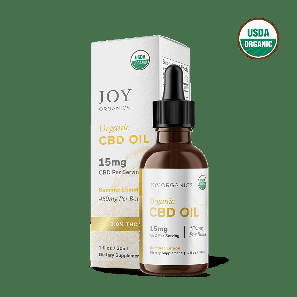Joy Organics, Summer Lemon Organic CBD Tincture, Broad Spectrum THC-Free, 1oz, 450mg CBD 1