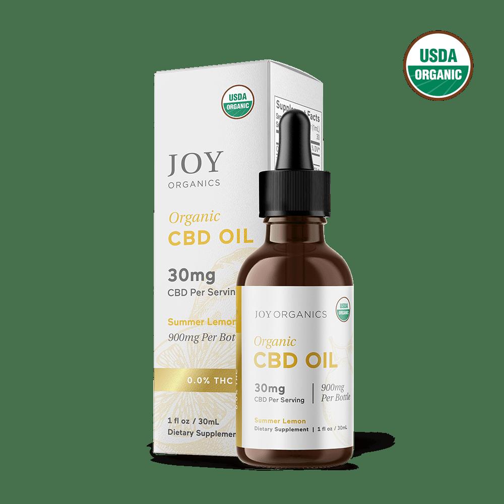 Joy Organics, Summer Lemon Organic CBD Tincture, Broad Spectrum THC-Free, 1oz, 900mg CBD 1