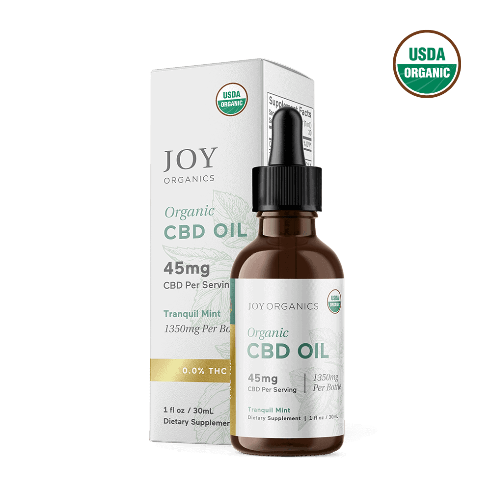 Joy Organics, Tranquil Mint Organic CBD Tincture, Broad Spectrum THC-Free, 1oz, 1350mg CBD 1