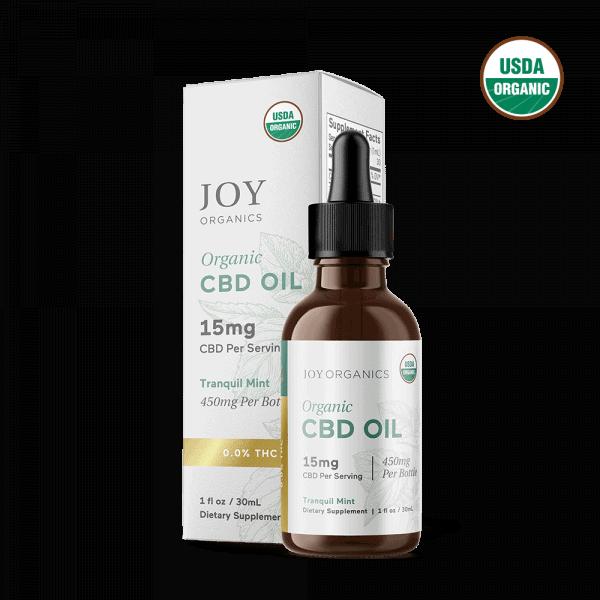 Joy Organics, Tranquil Mint Organic CBD Tincture, Broad Spectrum THC-Free, 1oz, 2250mg CBD