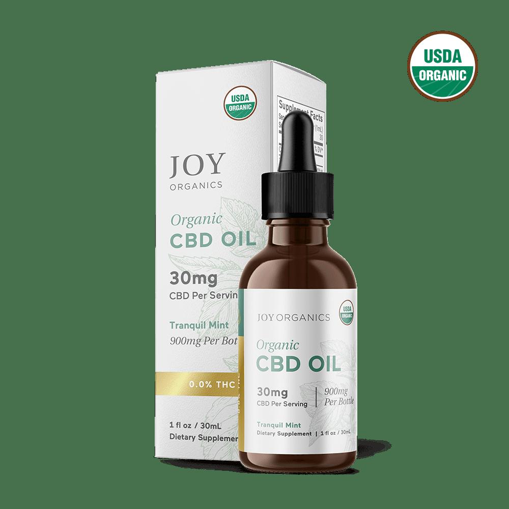 Joy Organics, Tranquil Mint Organic CBD Tincture, Broad Spectrum THC-Free, 1oz, 900mg CBD 1