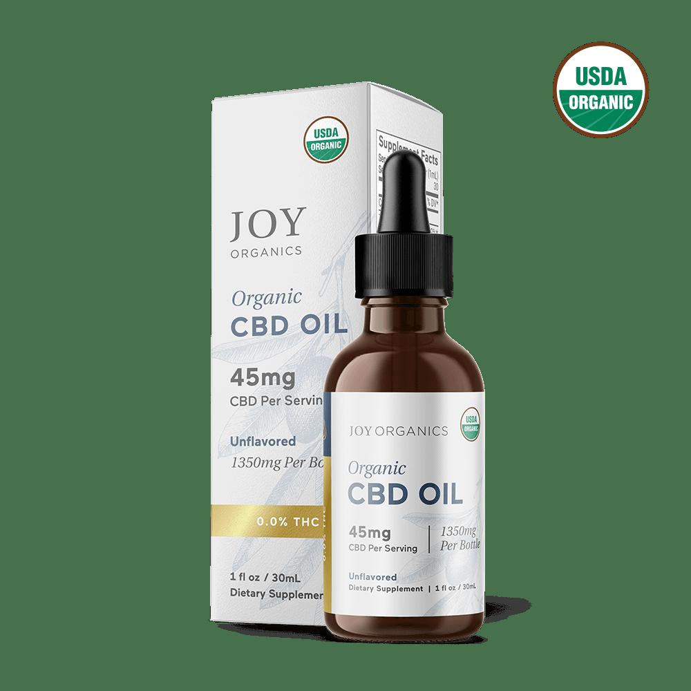 Joy Organics, Unflavored Organic CBD Tincture, Broad Spectrum THC-Free, 1oz, 1350mg CBD 1
