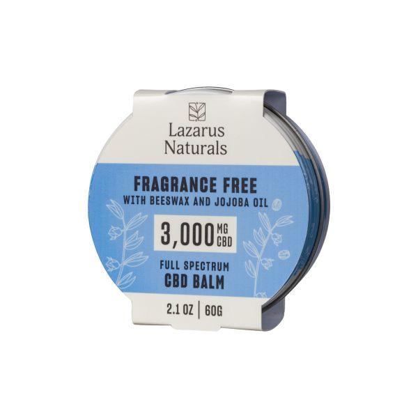 Lazarus Naturals, Fragrance Free CBD Balm, Beeswax & Jojoba, Full Spectrum, 2.1oz, 3000mg CBD 1