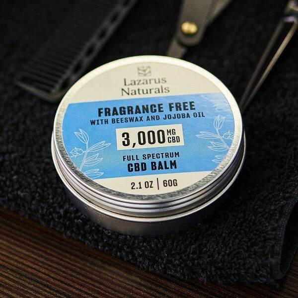 Lazarus Naturals, Fragrance Free CBD Balm, Beeswax & Jojoba, Full Spectrum, 2.1oz, 3000mg CBD 3