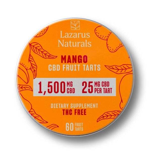 Lazarus Naturals, Mango CBD Fruit Tarts, Isolate THC-Free, 60ct, 1500mg CBD