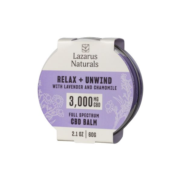 Lazarus Naturals, Relax + Unwind CBD Balm, Lavender & Chamomile, Full Spectrum, 2.1oz, 3000mg CBD 1