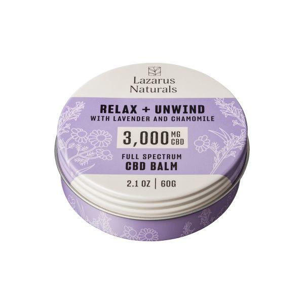 Lazarus Naturals, Relax + Unwind CBD Balm, Lavender & Chamomile, Full Spectrum, 2.1oz, 3000mg CBD