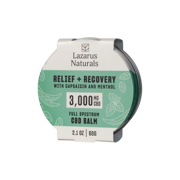 Lazarus Naturals, Relief + Recovery CBD Balm, Capsaicin & Menthol, Full Spectrum, 2.1oz, 3000mg CBD 1