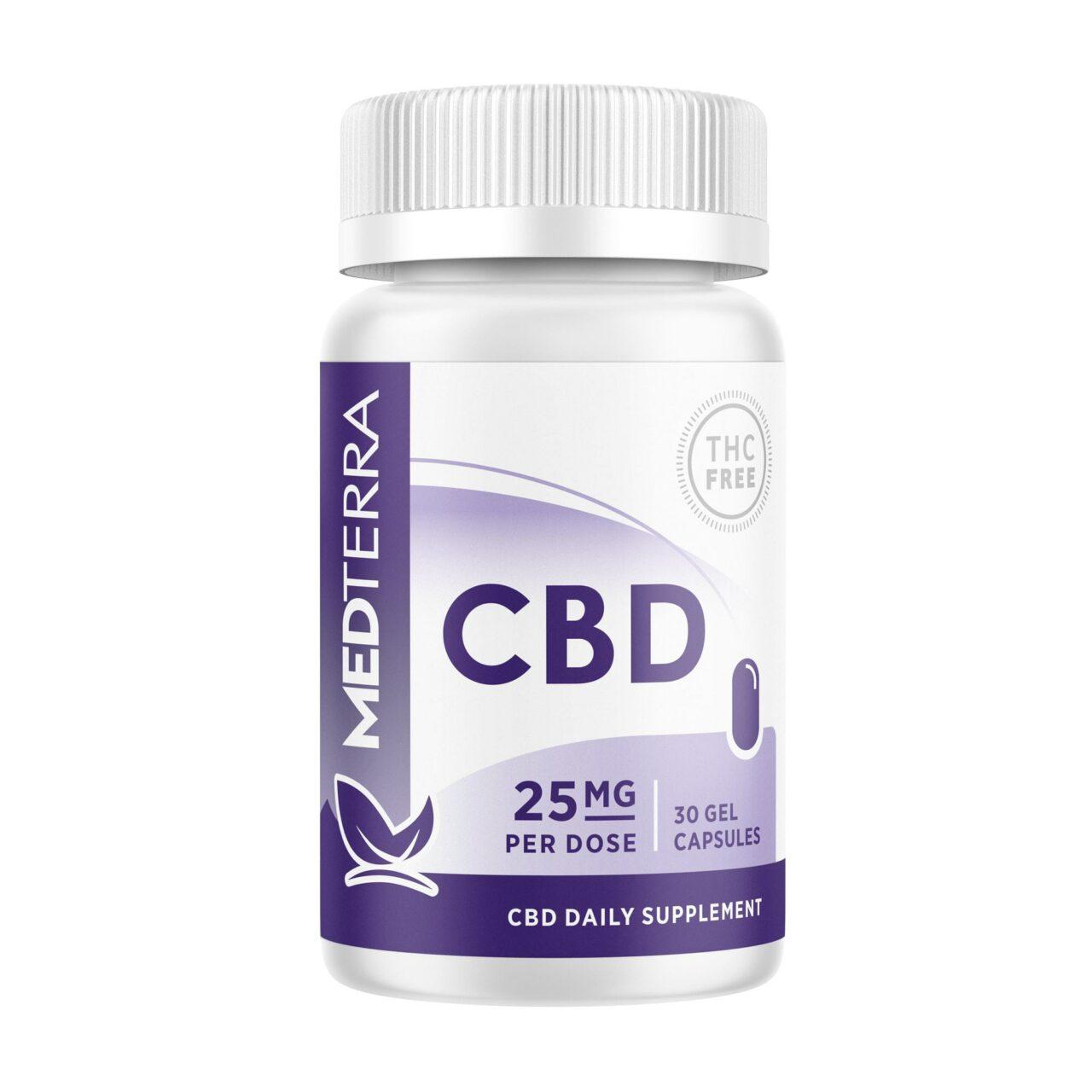Medterra, CBD Gel Capsules, Isolate THC-Free, 30ct, 750mg CBD 1