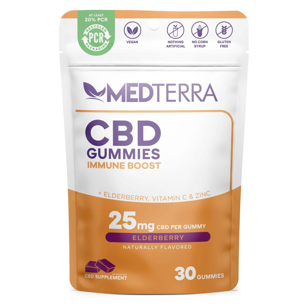 Medterra, CBD Gummies, Immune Boost , Isolate THC-Free, Elderberry, 30ct, 750mg CBD 1