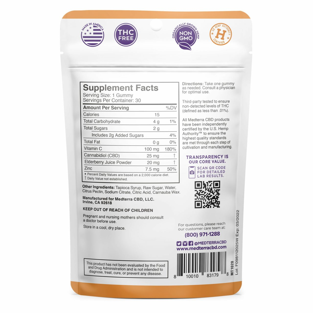 Medterra, CBD Gummies, Immune Boost , Isolate THC-Free, Elderberry, 30ct, 750mg CBD 2
