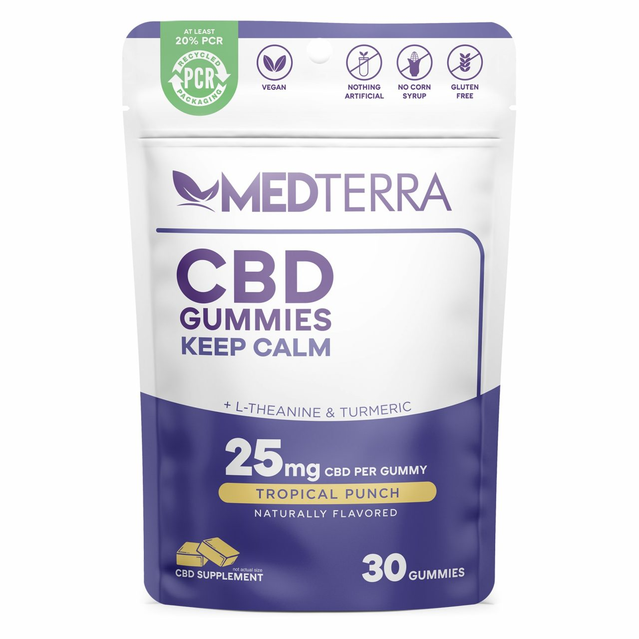 Medterra, CBD Gummies, Keep Calm, Isolate THC-Free, Tropical Punch, 30ct, 750mg CBD 1