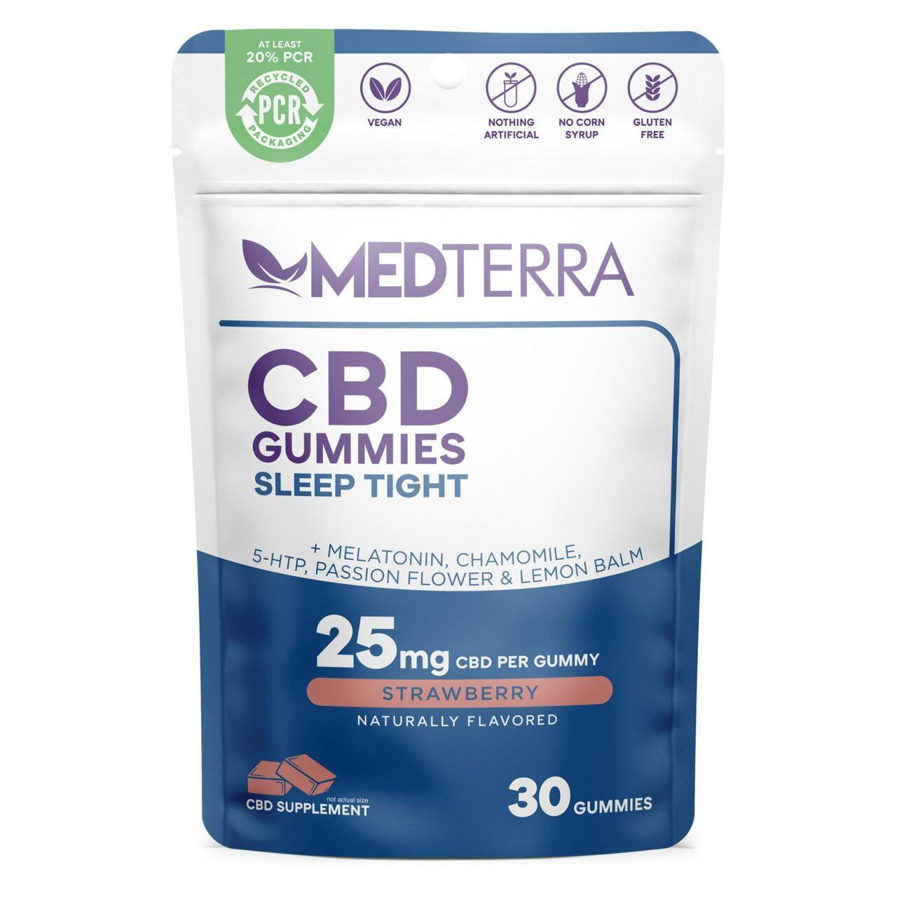 Medterra, CBD Gummies, Sleep Tight, Isolate THC-Free, Strawbery, 30ct, 750mg CBD 1