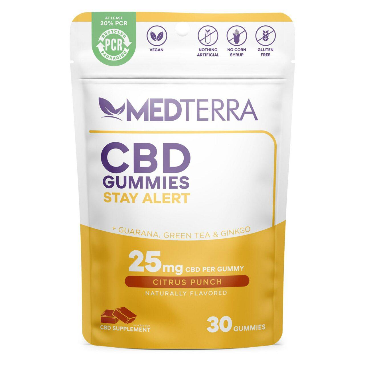 Medterra, CBD Gummies, Stay Alert, Isolate THC-Free, Citrus Punch, 30ct, 750mg CBD 1