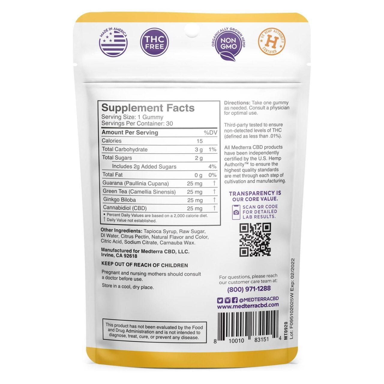 Medterra, CBD Gummies, Stay Alert, Isolate THC-Free, Citrus Punch, 30ct, 750mg CBD 2