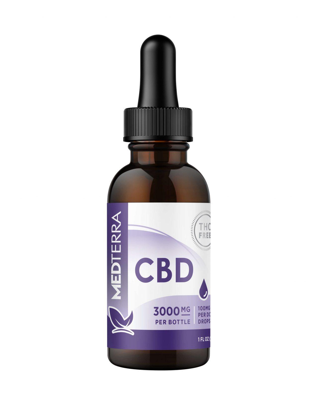 Medterra, CBD Oil, Isolate THC-Free, 1oz, 3000mg CBD 1