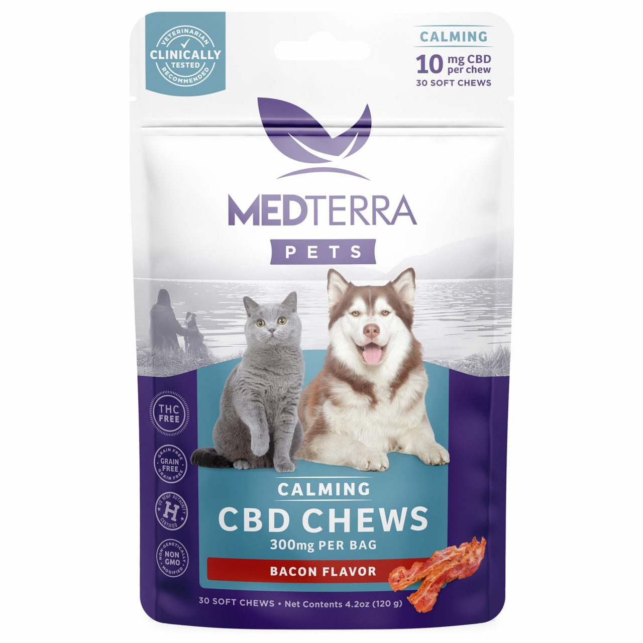Medterra, Calming CBD Chews for Dogs & Cats, Isolate THC-Free, Bacon, 30ct, 300mg CBD 1