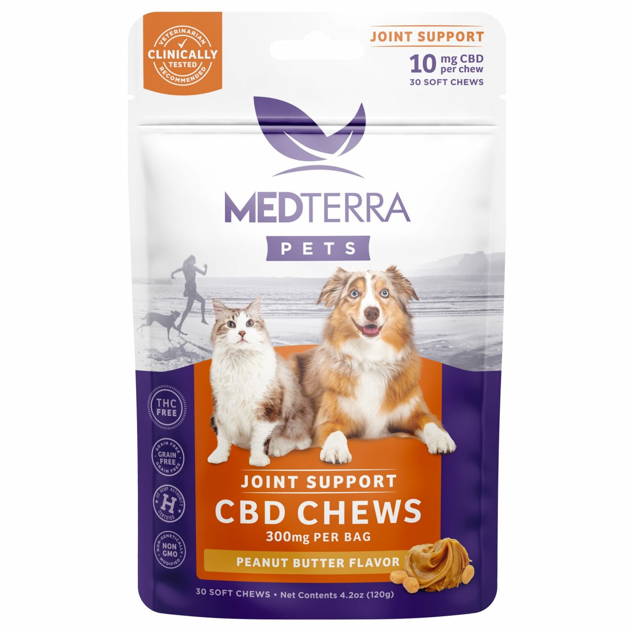 Medterra, Joint Support CBD Chews for Dogs & Cats, Isolate THC-Free, Peanut Butter, 30ct, 300mg CBD 1