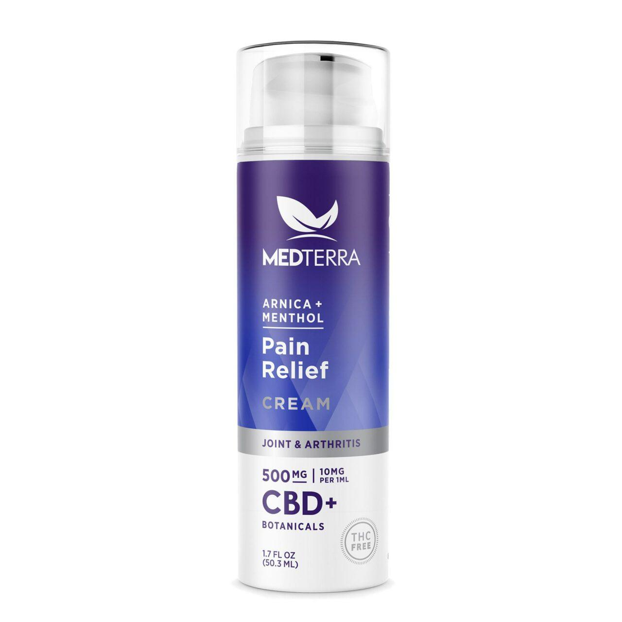 Medterra, Pain Relief CBD Cream, Isolate THC-Free, 1.7oz, 500mg CBD 1