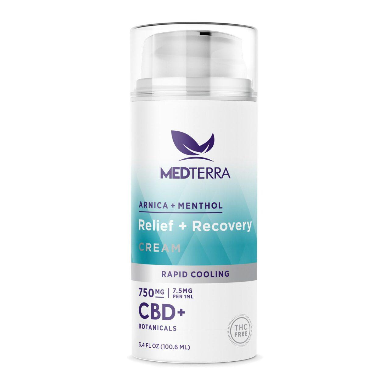 Medterra, Relief + Recovery CBD Cream, Isolate THC-Free, 3.4oz, 750mg CBD 1