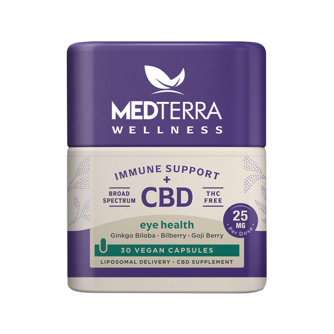Medterra, Wellness CBD Capsules, Eye Health, Broad Spectrum THC-Free, 30ct, 750mg CBD 1