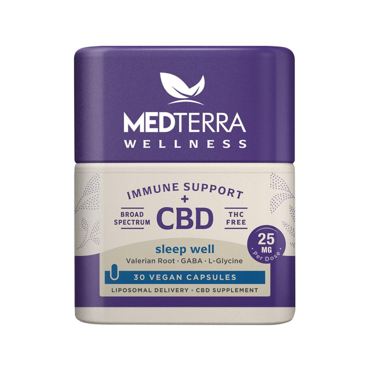 Medterra, Wellness CBD Capsules, Sleep Well, Broad Spectrum THC-Free, 30ct, 750mg CBD 1