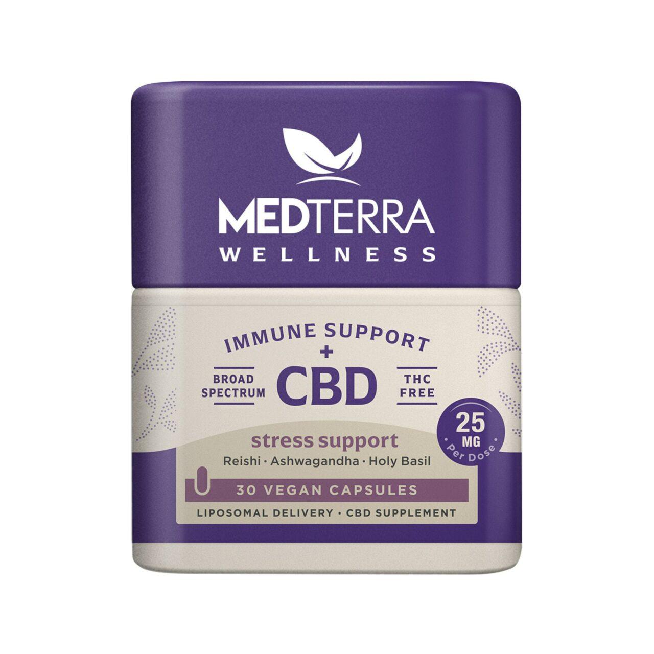 Medterra, Wellness CBD Capsules, Stress Support, Broad Spectrum THC-Free, 30ct, 750mg CBD 1