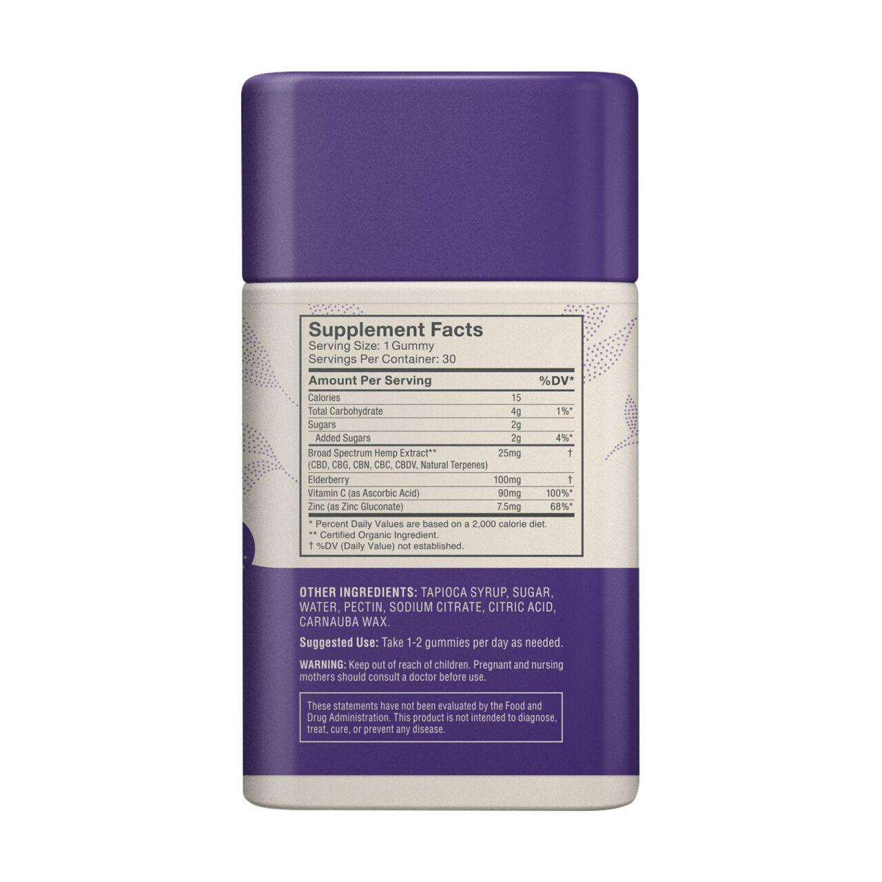 Medterra, Wellness CBD Gummies, Immune Boost, Broad Spectrum THC-Free, Elderberry, 30ct, 750mg CBD 4