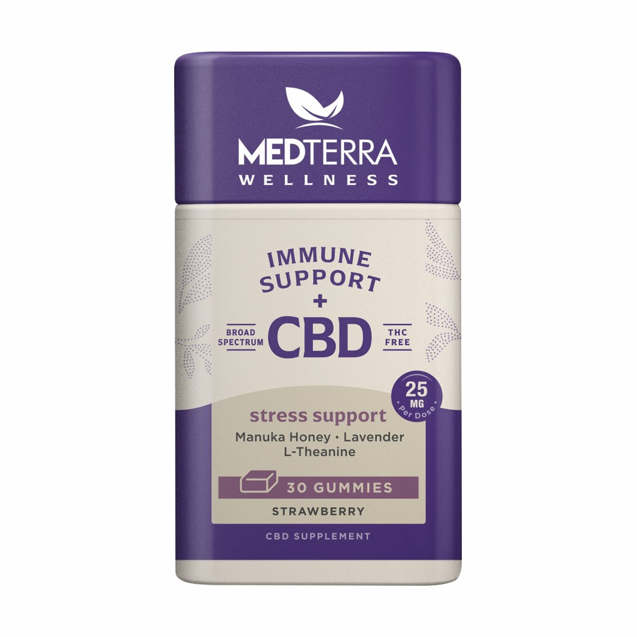 Medterra, Wellness CBD Gummies, Stress Support, Broad Spectrum THC-Free, Strawberry, 30ct, 750mg CBD 1