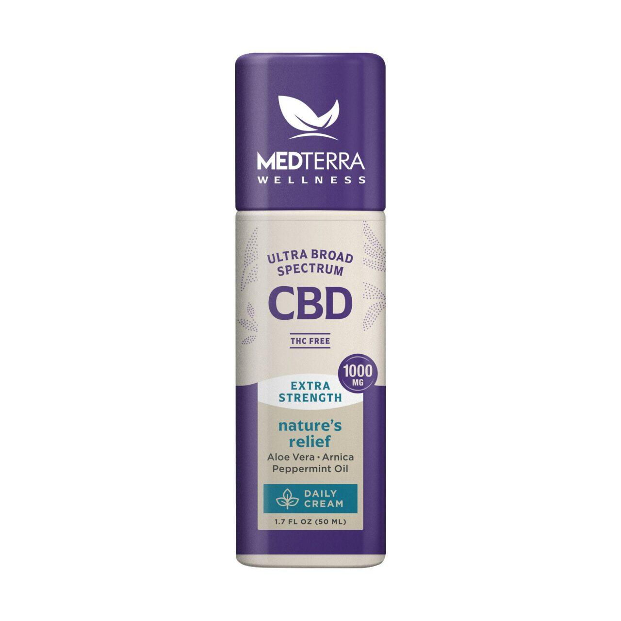 Medterra, Wellness Nature's Relief Daily CBD Cream, Broad Spectrum THC-Free, 1.7oz, 1000mg CBD 1
