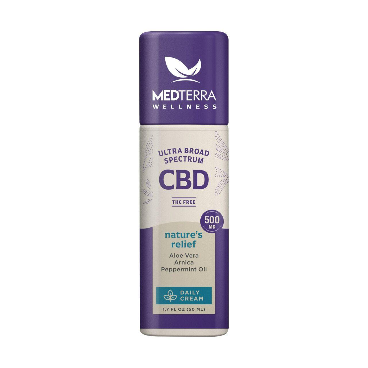 Medterra, Wellness Nature's Relief Daily CBD Cream, Broad Spectrum THC-Free, 1.7oz, 500mg CBD 1