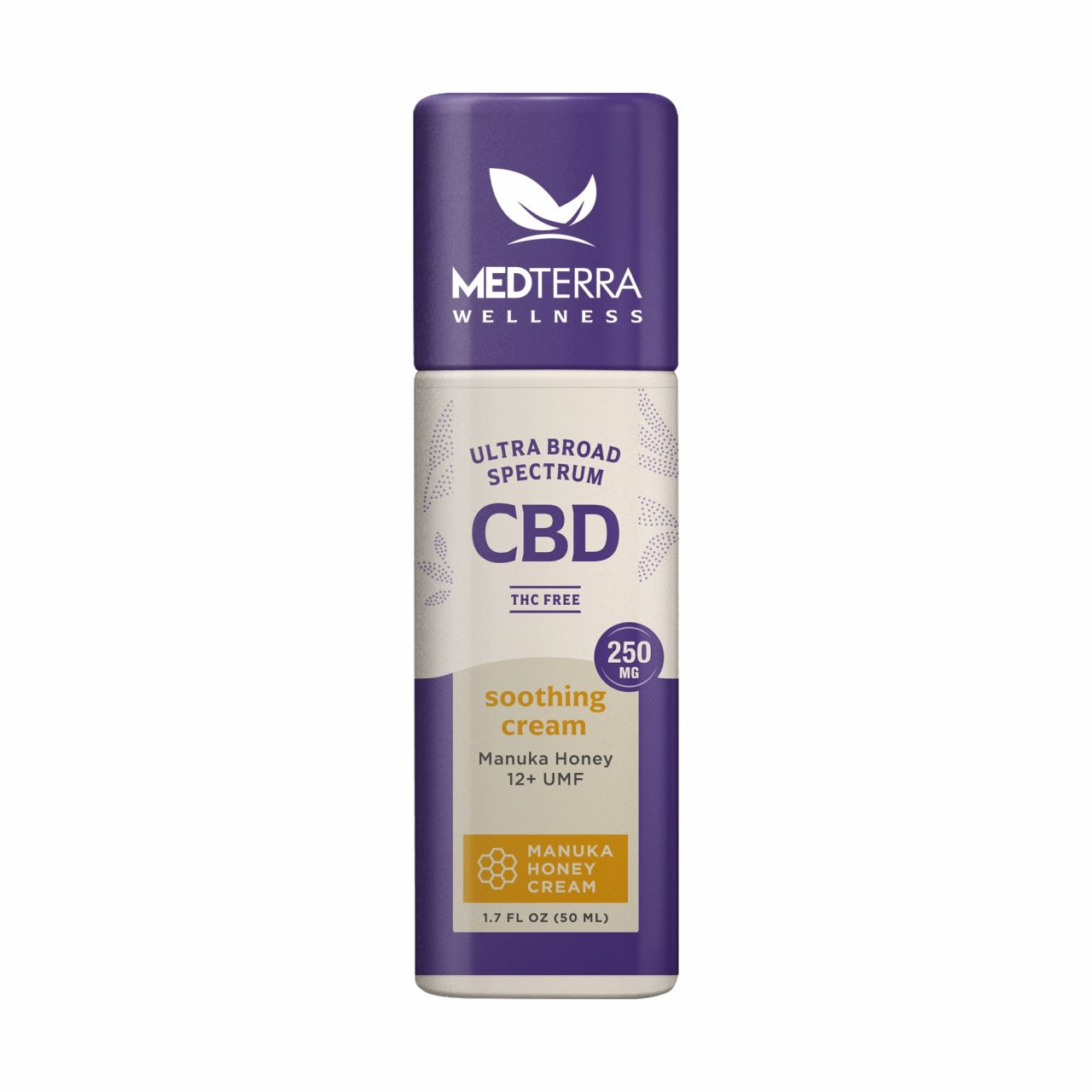 Medterra, Wellness Soothing CBD Cream, Manuka Honey, Broad Spectrum THC-Free, 1.7oz, 250mg CBD 1