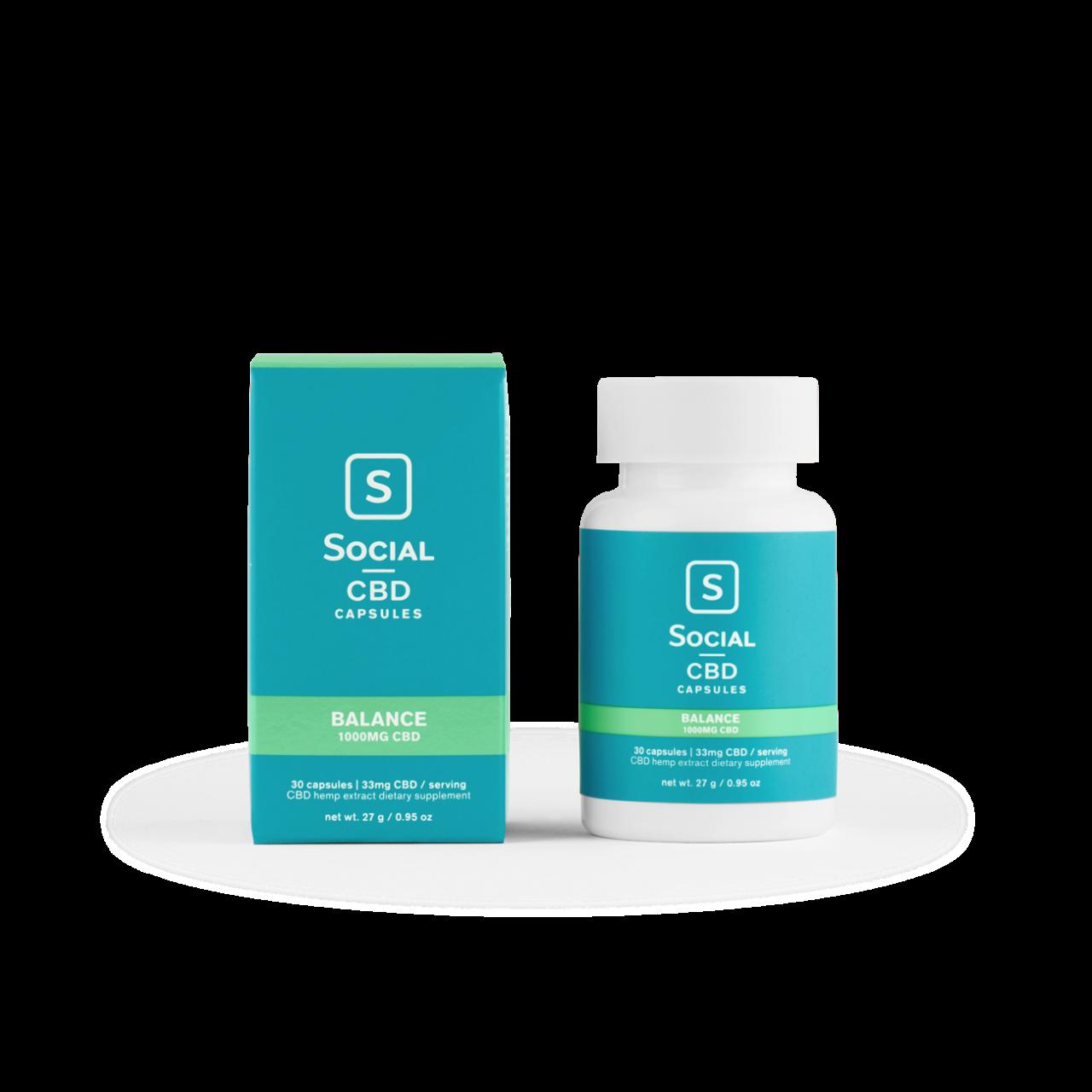 Social CBD, Balance CBD Gel Capsules, Isolate THC-Free, 30ct, 1000 CBD 1