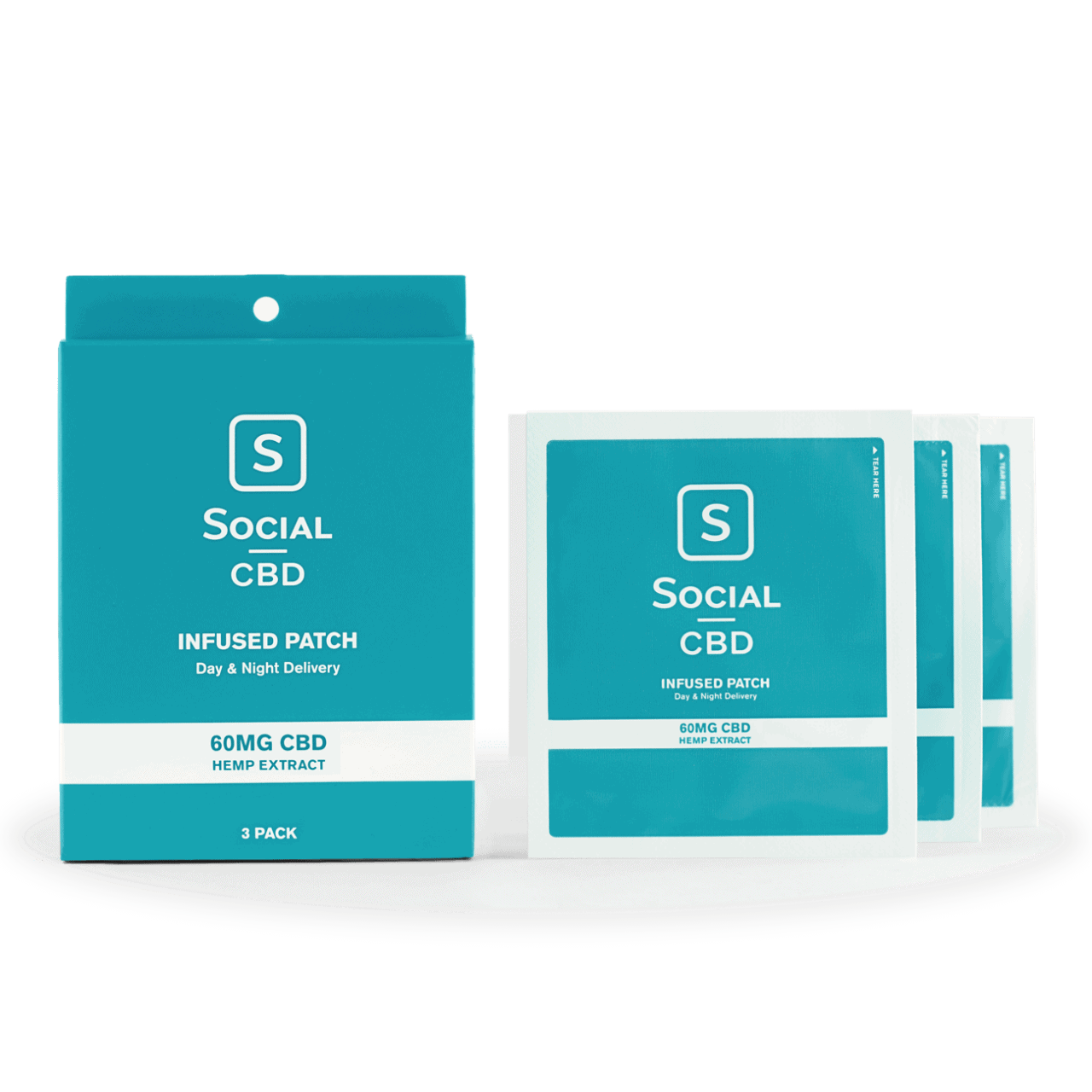 Social CBD, CBD Infused Patch, Isolate THC-Free, 3ct, 60mg:patch, 180mg CBD 1