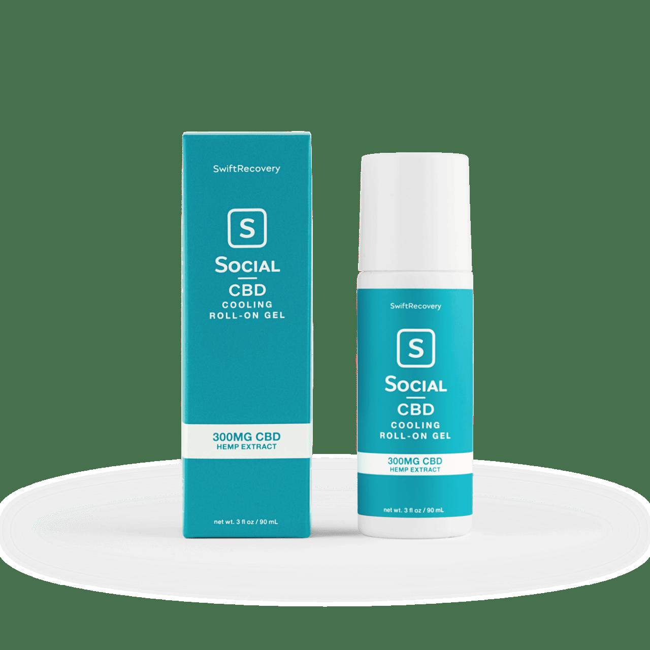 Social CBD, Cooling CBD Roll-On Gel, Isolate THC-Free, 3oz, 300mg CBD 1